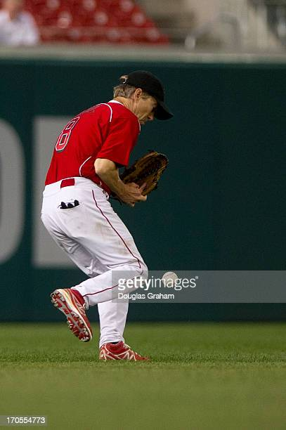 Sen Rand Paul handles a fly ball to left field during the 52nd annual Congressional Baseball Game at National Stadium in Washington on Thursday June...