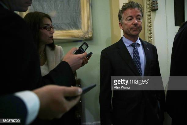 S Sen Rand Paul is approached by members of the media as he arrives at the weekly Senate Republican Policy Luncheon at the Capitol May 9 2017 in...