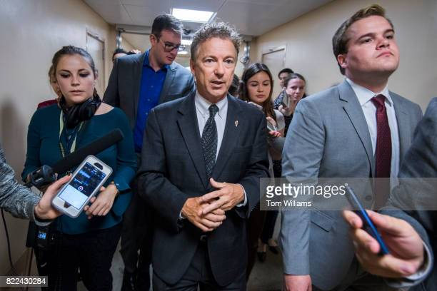 Sen Rand Paul RKy talks with reporters in the senate subway before the Senate Policy luncheons in the Capitol on July 25 2017