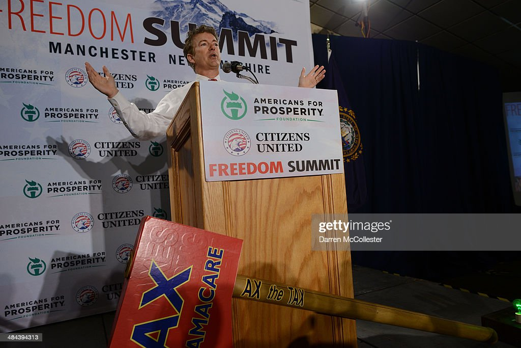 U.S. Sen. <a gi-track='captionPersonalityLinkClicked' href=/galleries/search?phrase=Rand+Paul&family=editorial&specificpeople=6939188 ng-click='$event.stopPropagation()'>Rand Paul</a> speaks at the Freedom Summit at The Executive Court Banquet Facility April 12, 2014 in Manchester, New Hampshire. The Freedom Summit held its inaugural event where national conservative leaders bring together grassroots activists on the eve of tax day. Photo by Darren McCollester/Getty Images)