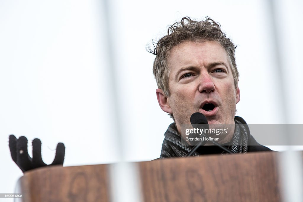 Sen. <a gi-track='captionPersonalityLinkClicked' href=/galleries/search?phrase=Rand+Paul&family=editorial&specificpeople=6939188 ng-click='$event.stopPropagation()'>Rand Paul</a> (R-KY) speaks at the March for Life on January 25, 2013 in Washington, DC. The pro-life gathering is held each year around the anniversary of the Roe v. Wade Supreme Court decision.