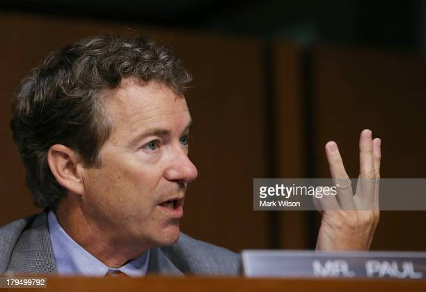 S Sen Rand Paul speaks before a Senate Foreign Relations Committee vote on a resolution on Syria on Capitol Hill September 4 2013 in Washington DC...