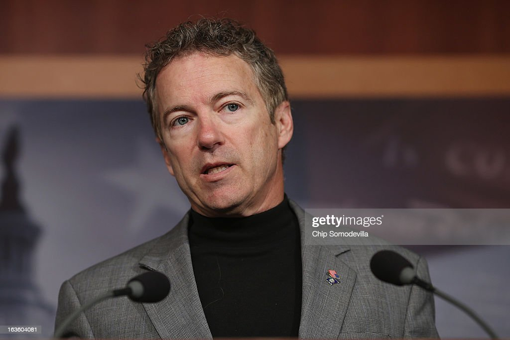 Sen. <a gi-track='captionPersonalityLinkClicked' href=/galleries/search?phrase=Rand+Paul&family=editorial&specificpeople=6939188 ng-click='$event.stopPropagation()'>Rand Paul</a> (R-KY) speaks during a news conference to announce a plan to defund the Patient Protection and Affordable Care Act, also known as Obamacare, at the U.S. Capitol March 13, 2013 in Washington, DC. Although the conservative senators that are sponsoring the legislation expect it to fail, they believe it is an important survey of who supports health care reform.