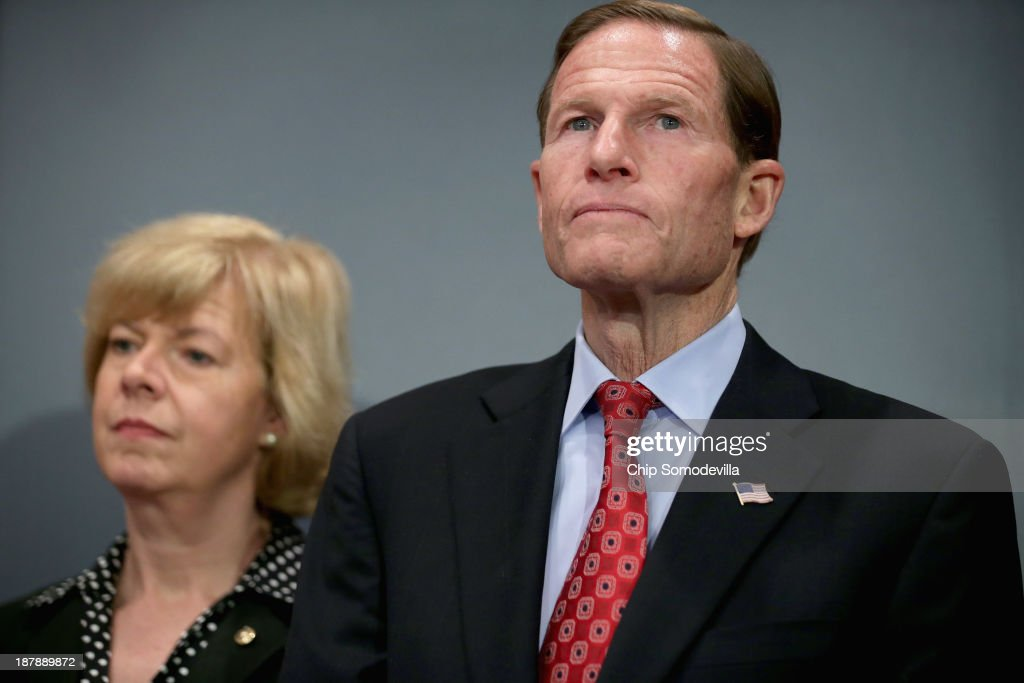 U.S. Sen. <a gi-track='captionPersonalityLinkClicked' href=/galleries/search?phrase=Richard+Blumenthal&family=editorial&specificpeople=1036916 ng-click='$event.stopPropagation()'>Richard Blumenthal</a> (D-CT) (R) and U.S. Sen. <a gi-track='captionPersonalityLinkClicked' href=/galleries/search?phrase=Tammy+Baldwin&family=editorial&specificpeople=4251626 ng-click='$event.stopPropagation()'>Tammy Baldwin</a> (D-WI) announces new legislation to protect womens right to abortion during a news conference in the Dirksen Senate Office Building on Capitol Hill November 13, 2013 in Washington, DC. According to it's sponsors, the Women's Health Protection Act of 2013 would 'protect a women's right to safe and legal abortion by preempting restrictive regulations and laws, such as those in place in states including Texas and Wisconsin. intended to curtail reproductive health services for women.