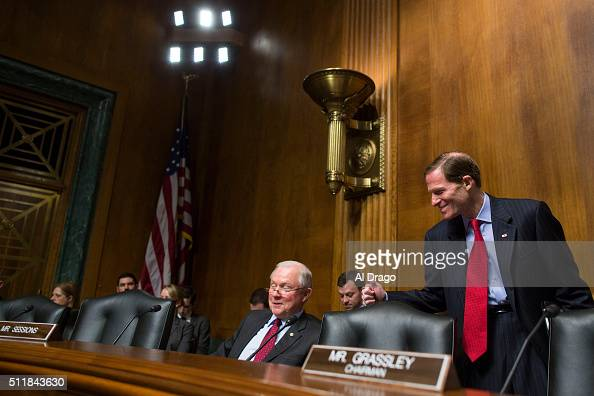 STATES FEB 23 Sen Richard Blumenthal DConn gives a thumbs up to Sen Jeff Sessions RAla after he announced the birth of his 10th grandchild Nicholas...