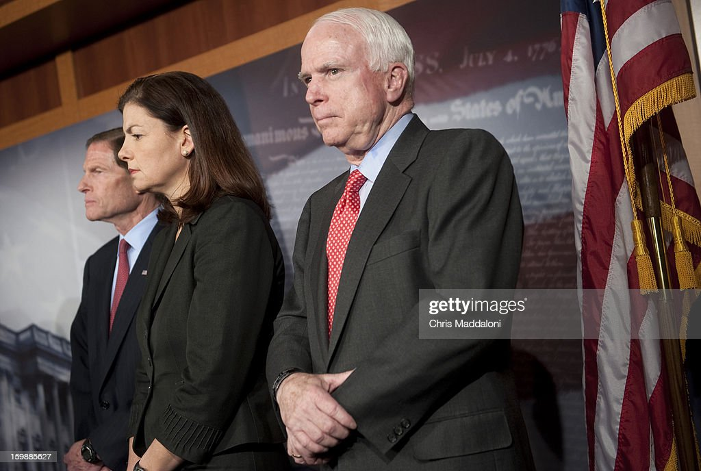 Sen. Richard Blumenthal, D-Conn.; Sen. Kelly Ayotte, R-Ariz.; and Sen. John McCain, R-Ariz., speak at a press conference about a recent congressional trip to Syria, Afghanistan and Egypt.