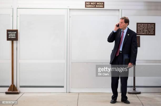 Sen Richard Blumenthal DConn waits for the Dirksen/Hart subway on Tuesday July 25 2017