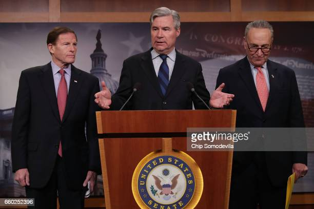 Sen Richard Blumenthal Sen Sheldon Whitehouse and Senate Minority Leader Charles Schumer hold a news conference to call on Republicans to reveal the...