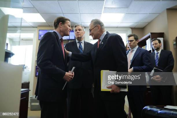 Sen Richard Blumenthal Sen Sheldon Whitehouse and Senate Minority Leader Charles Schumer prepare for a news conference to call on Republicans to...