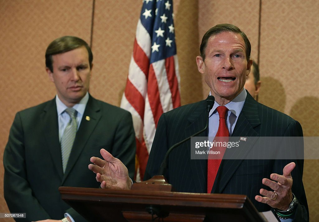 Sen. <a gi-track='captionPersonalityLinkClicked' href=/galleries/search?phrase=Richard+Blumenthal&family=editorial&specificpeople=1036916 ng-click='$event.stopPropagation()'>Richard Blumenthal</a> (D-CT) (R) speaks about gun safety as Sen. <a gi-track='captionPersonalityLinkClicked' href=/galleries/search?phrase=Chris+Murphy+-+Politico&family=editorial&specificpeople=12884903 ng-click='$event.stopPropagation()'>Chris Murphy</a> (D-CT), listens, during a news conferenceÊon Capitol Hill January 27, 2016 in Washington, DC. The Senators introduced legislation to ensure that the victims of gun violence are allowed to have their day in court and that the gun industry manufacturers, sellers and interest groups are not shielded from liability when it acts with negligence and disregard for public safety.