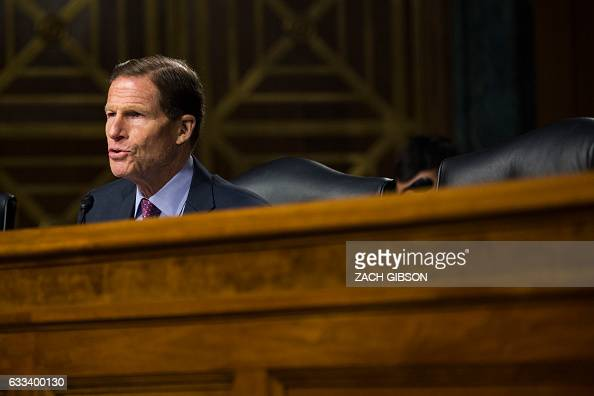 Sen Richard Blumenthal speaks during a hearing to Senate Veterans' Affairs hearing to to examine David Shulkin's nomination to be Secretary of...