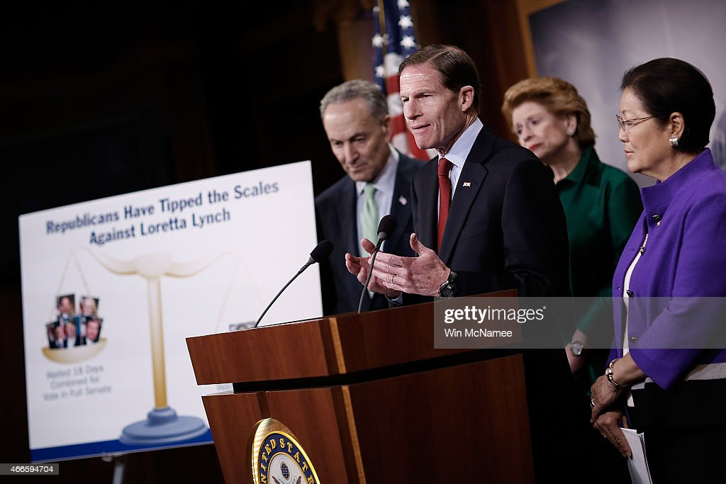 Sen. <a gi-track='captionPersonalityLinkClicked' href=/galleries/search?phrase=Richard+Blumenthal&family=editorial&specificpeople=1036916 ng-click='$event.stopPropagation()'>Richard Blumenthal</a> (2nd L) (D-NY) speaks during a press conference at the U.S. Capitol March 17, 2015 in Washington, DC. A group of Democratic senators spoke to members of the press on the delayed confirmation of Attorney General nominee Loretta Lynch in the U.S. Senate. Also pictured are (L-R) Sen. <a gi-track='captionPersonalityLinkClicked' href=/galleries/search?phrase=Charles+Schumer&family=editorial&specificpeople=171249 ng-click='$event.stopPropagation()'>Charles Schumer</a> (D-NY), Sen. <a gi-track='captionPersonalityLinkClicked' href=/galleries/search?phrase=Debbie+Stabenow&family=editorial&specificpeople=221624 ng-click='$event.stopPropagation()'>Debbie Stabenow</a> (D-MI), and Sen. <a gi-track='captionPersonalityLinkClicked' href=/galleries/search?phrase=Mazie+Hirono&family=editorial&specificpeople=3461717 ng-click='$event.stopPropagation()'>Mazie Hirono</a> (D-HI). Photo by Win McNamee/Getty Images)