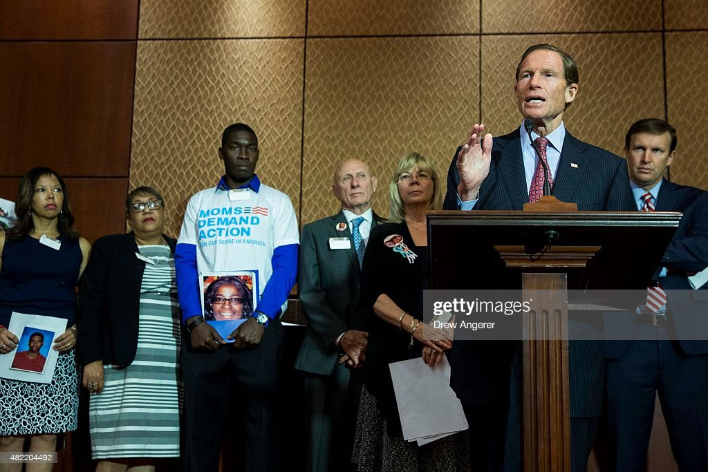 Sen. <a gi-track='captionPersonalityLinkClicked' href=/galleries/search?phrase=Richard+Blumenthal&family=editorial&specificpeople=1036916 ng-click='$event.stopPropagation()'>Richard Blumenthal</a> (D-CT) speaks during an event hosted by 'Everytown for Gun Safety' and 'Moms Demand Action for Gun Sense in America,' on Capitol Hill, July 28, 2015 in Washington, DC. Both groups who hosted the event are urging Congress to discuss potential legislation to expand background checks on gun sales.