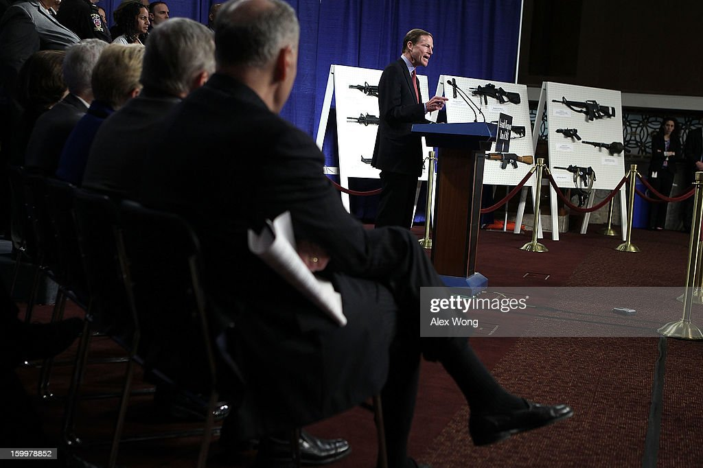 U.S. Sen. Richard Blumenthal (D-CT) speaks next to a display of assault weapons during a news conference January 24, 2013 on Capitol Hill in Washington, DC. U.S. Sen. <a gi-track='captionPersonalityLinkClicked' href=/galleries/search?phrase=Dianne+Feinstein&family=editorial&specificpeople=214078 ng-click='$event.stopPropagation()'>Dianne Feinstein</a> (D-CA) announced that she will introduce a bill to ban assault weapons and high-capacity magazines capable of holding more than 10 rounds to help to stop gun violence.