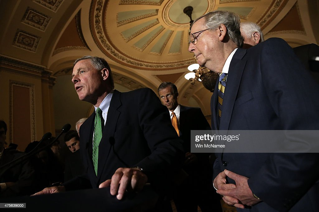 Sen. Richard Burr (L) (R-NC) answers questions with Senate Majority Leader Mitch McConnell (R) (R-KY) at the U.S. Capitol June 2, 2015 in Washington, DC. McConnell spoke following the weekly Republican caucus policy luncheon.