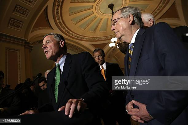 Sen Richard Burr answers questions with Senate Majority Leader Mitch McConnell at the US Capitol June 2 2015 in Washington DC McConnell spoke...