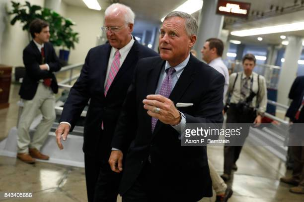 Sen Richard Burr arrives at the Capitol ahead of the weekly party luncheons September 6 2017 in Washington DC Legislators from both parties are...