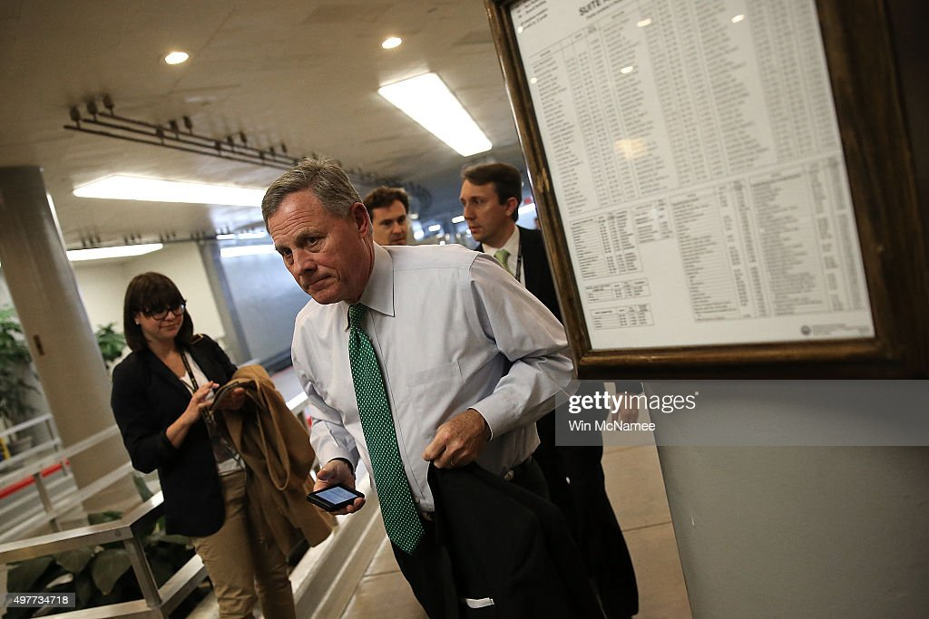 Sen. <a gi-track='captionPersonalityLinkClicked' href=/galleries/search?phrase=Richard+Burr&family=editorial&specificpeople=689238 ng-click='$event.stopPropagation()'>Richard Burr</a> (R-NC) arrives for a closed briefing on the Paris terror attacks at the U.S. Capitol November 18, 2015 in Washington, DC. Members of the U.S. Senate were briefed by U.S. intelligence officials on the latest information regarding the attacks.