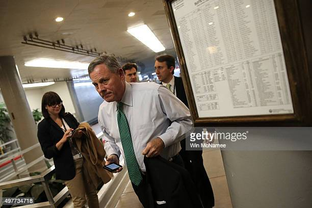 Sen Richard Burr arrives for a closed briefing on the Paris terror attacks at the US Capitol November 18 2015 in Washington DC Members of the US...