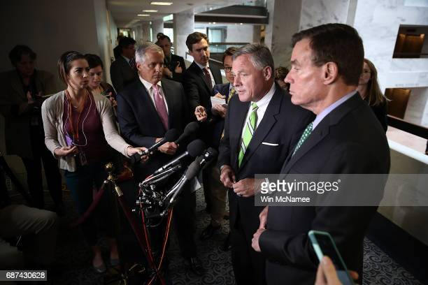 Sen Richard Burr Chairman of the Senate Select Committee on Intelligence and ranking member of the committee Sen Mark Warner speak to reporters after...