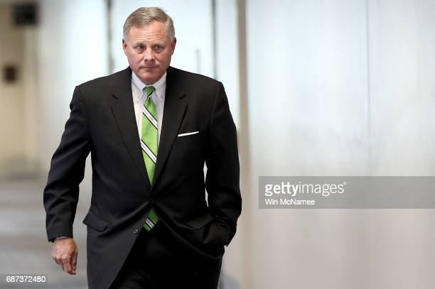Sen Richard Burr Chairman of the Senate Select Committee on Intelligence arrives for a briefing on Capitol Hill May 23 2017 in Washington DC The...