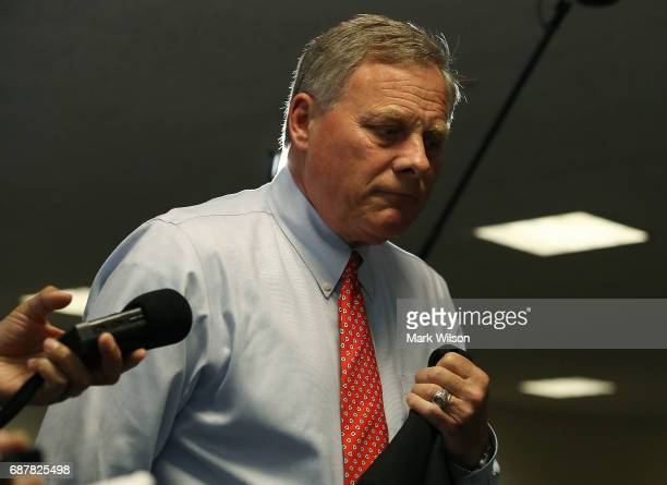 Sen Richard Burr Chairman of the Senate Select Committee on Intelligence walks to a closed committee meeting on Capitol Hill May 23 2017 in...