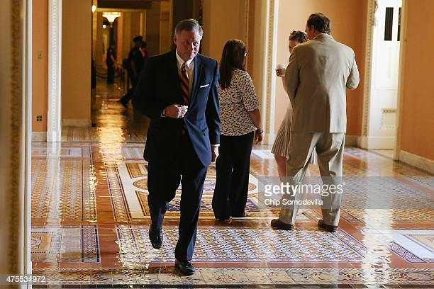 Sen Richard Burr heads to the Senate Chamber at the US Capitol June 1 2015 in Washington DC In protest of the National Security Agency's sweeping...