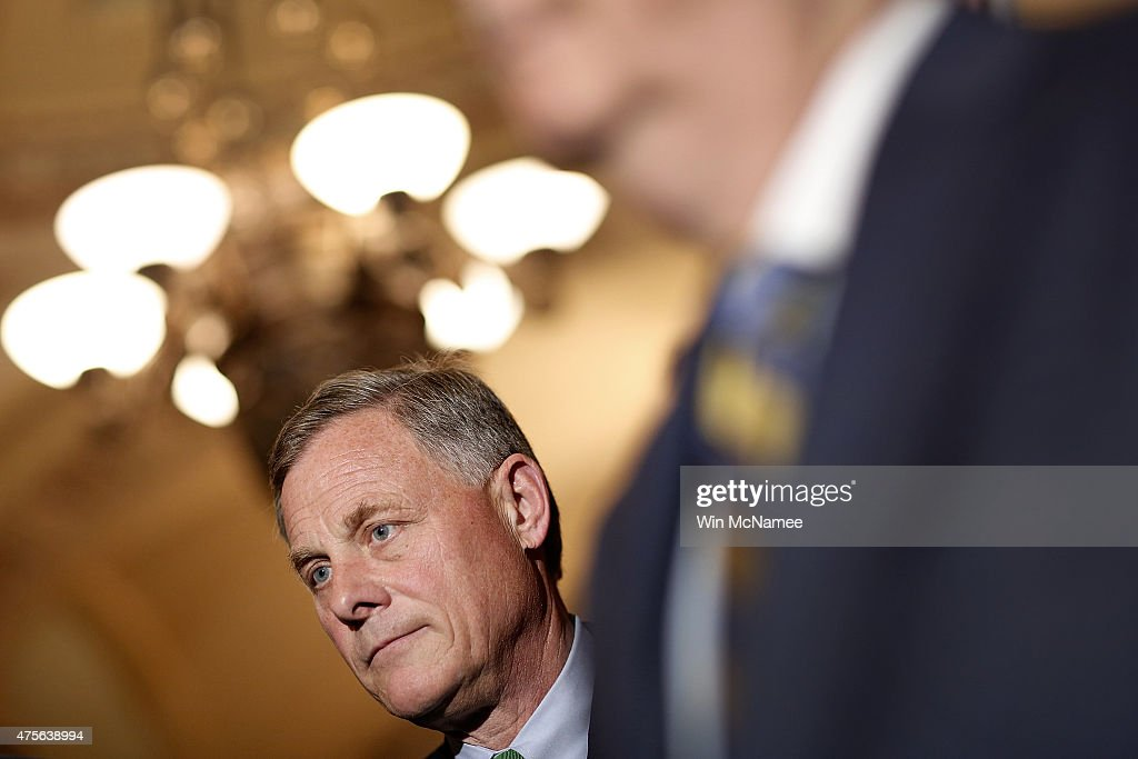 Sen. Richard Burr (R-NC) listens as members of the Republican leadership answer questions at the U.S. Capitol June 2, 2015 in Washington, DC. Senate Majority Leader Mitch McConnell spoke following the weekly Republican caucus policy luncheon.
