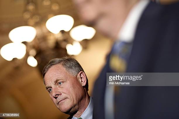 Sen Richard Burr listens as members of the Republican leadership answer questions at the US Capitol June 2 2015 in Washington DC Senate Majority...
