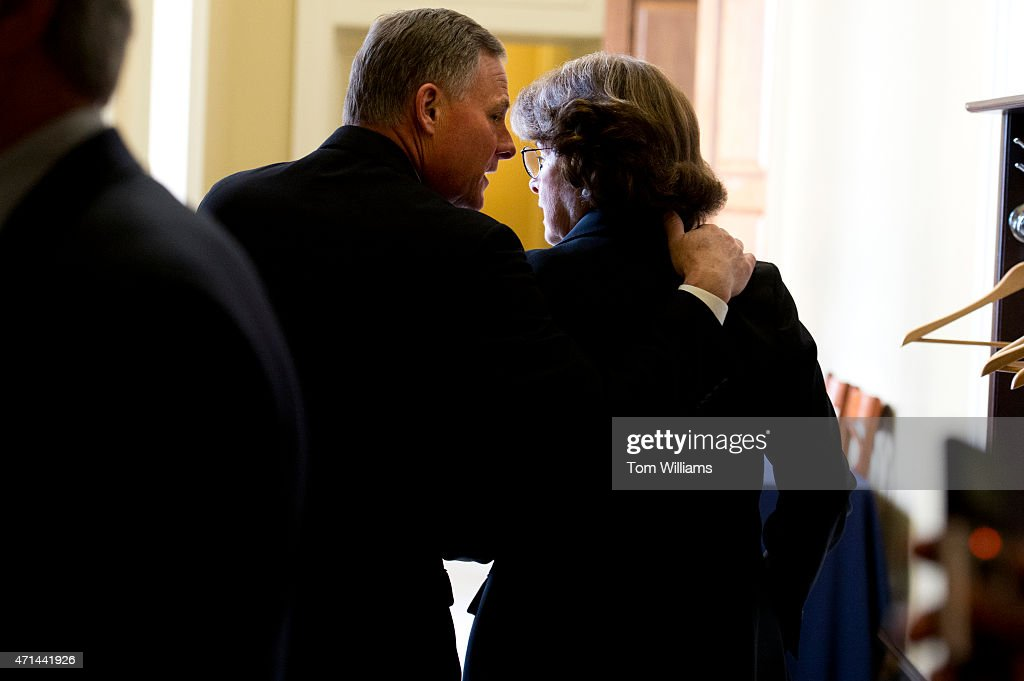 Sen. <a gi-track='captionPersonalityLinkClicked' href=/galleries/search?phrase=Richard+Burr&family=editorial&specificpeople=689238 ng-click='$event.stopPropagation()'>Richard Burr</a>, R-N.C., talks with Sen. <a gi-track='captionPersonalityLinkClicked' href=/galleries/search?phrase=Dianne+Feinstein&family=editorial&specificpeople=214078 ng-click='$event.stopPropagation()'>Dianne Feinstein</a>, D-Calif., after she accidentally arrived at the Republican Senate policy luncheon in the Capitol, April 28, 2015.