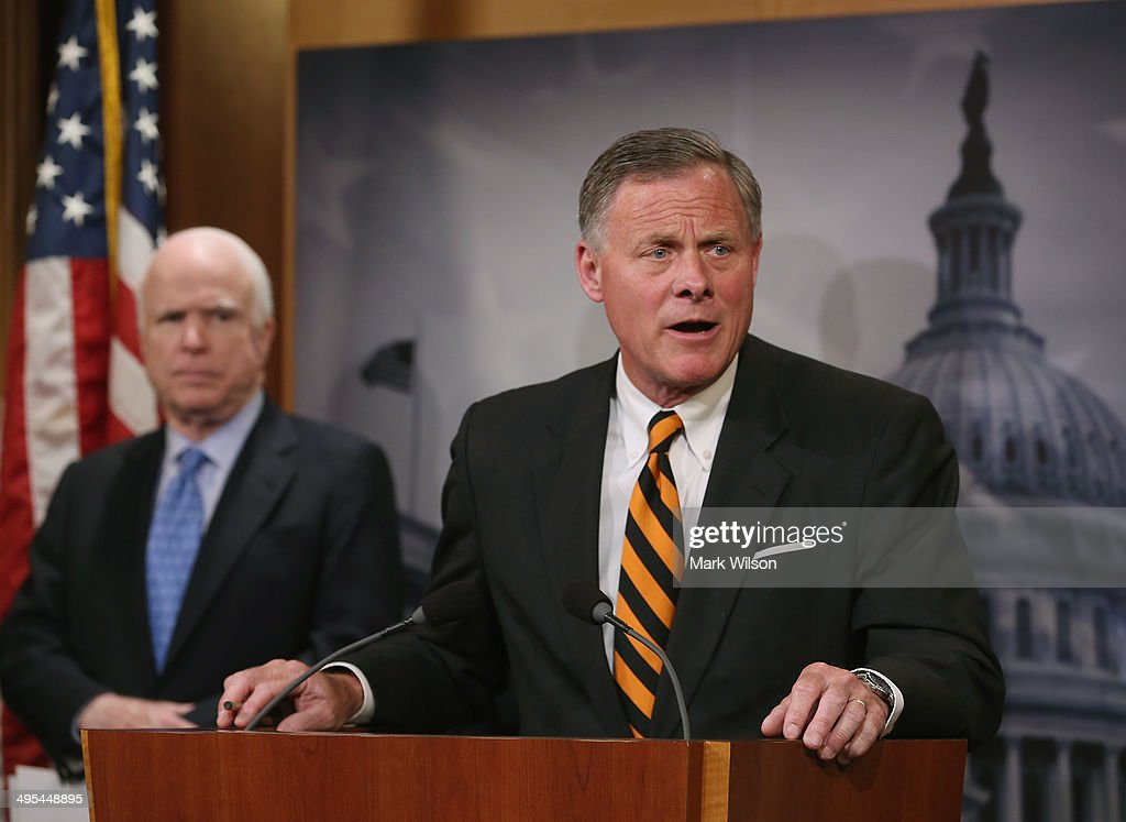 Sen. Richard Burr (R-NC) speaks about veterans affairs while flanked by Sen. John McCain (R-AZ), during a news conference on Capitol Hill, June 3, 2014 in Washington, DC. Four Senators introduced The Veterans Choice Act, which addresses issues raised by the scandal at the U.S. Department of Veterans Affairs, and provides veterans with greater flexibility and choice in health care providers and increasing accountability and transparency at the Veterans Affairs administration.
