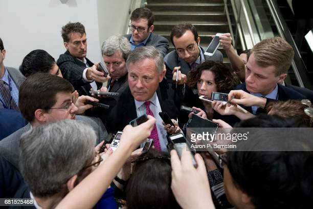 Sen Richard Burr speaks to reporters on Capitol Hill May 10 2017 in Washington DC Senators from both parties are scrambling to react to President...