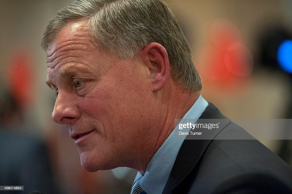 U.S. Sen. <a gi-track='captionPersonalityLinkClicked' href=/galleries/search?phrase=Richard+Burr&family=editorial&specificpeople=689238 ng-click='$event.stopPropagation()'>Richard Burr</a> (R-NC) speaks with the media while waiting for election results at The Omni Hotel Ballroom on November 4, 2014, in Charlotte, North Carolina. U.S. Rep. Thom Tillis (R-NC) is running in a tight race for the North Carolina Senate seat against opponent U.S. Sen. Kay Hagan (D-NC).