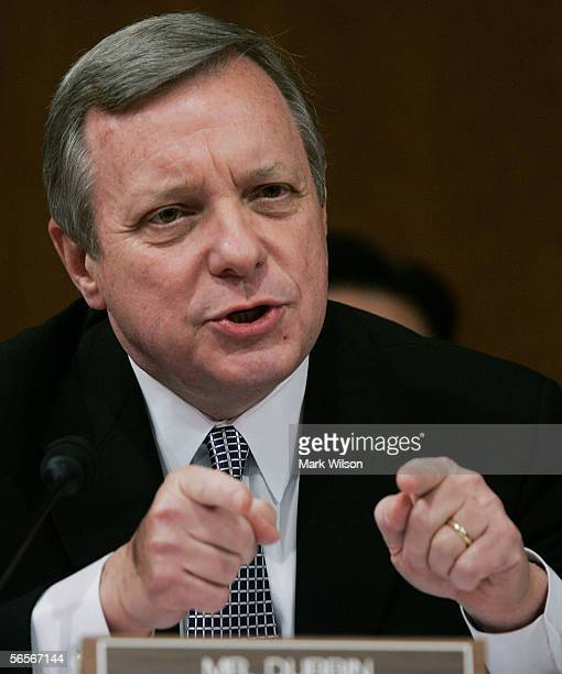 S Sen Richard Durbin questions US Supreme Court nominee Judge Samuel Alito during the third day of his confirmation hearings January 11 2006 on...