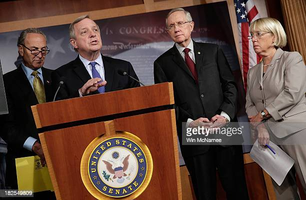 Sen Richard Durbin speaks at a press conference after the Senate voted to table House legislation to avert a government shutdown by defunding the...