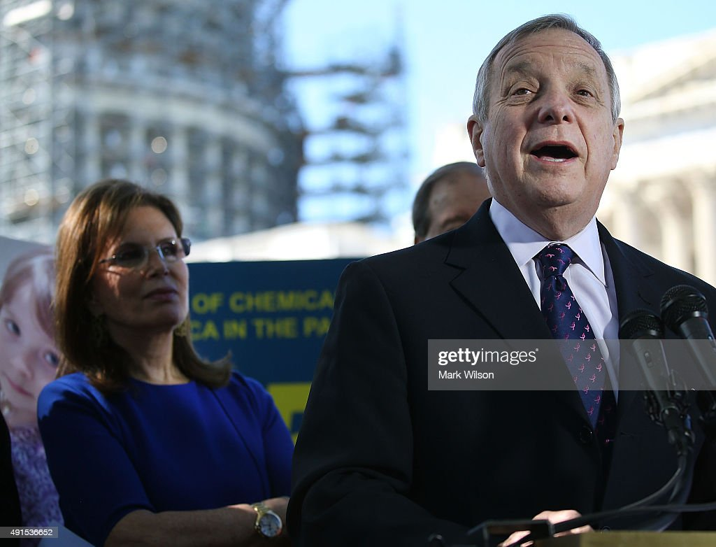 Sen. Richard Durbin (D-IL) speaks while flanked by Bonnie Lautenberg, widow of former Senator <a gi-track='captionPersonalityLinkClicked' href=/galleries/search?phrase=Frank+Lautenberg&family=editorial&specificpeople=240397 ng-click='$event.stopPropagation()'>Frank Lautenberg</a> (D-NJ), during a news conference on dangerous chemicals, on Capitol Hill October 6, 2015 in Washington, DC. Bonnie Lautenberg joined a bi partisan group of Senators to urge Congress into passing the Lautenberg Act to protect families from dangerous chemicals.
