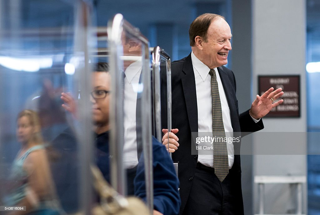 Sen. Richard Shelby (R-AL) gets off the Senate subway as he arrives in the Capitol for a vote on Wednesday, June 29, 2016.