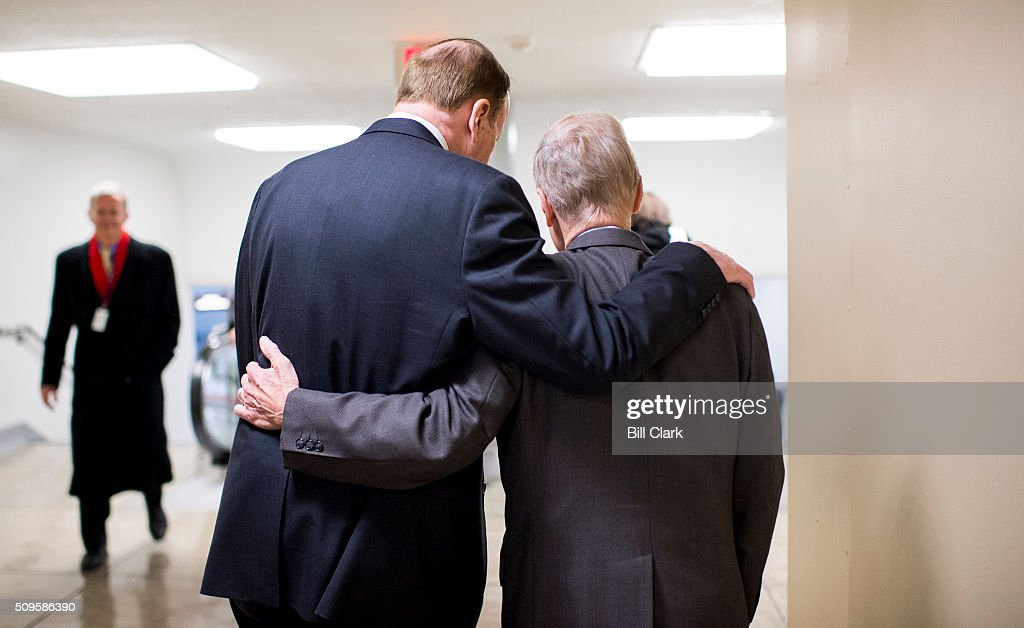 Sen. Richard Shelby, R-Ala., left, and Sen. Bill Nelson, D-Fla., talk as they head back to the Senate subway following a vote in the Capitol on Thursday, Feb. 11, 2016.