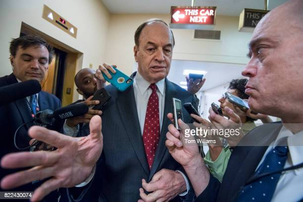 Sen Richard Shelby RAla talks with reporters in the senate subway before the Senate Policy luncheons in the Capitol on July 25 2017
