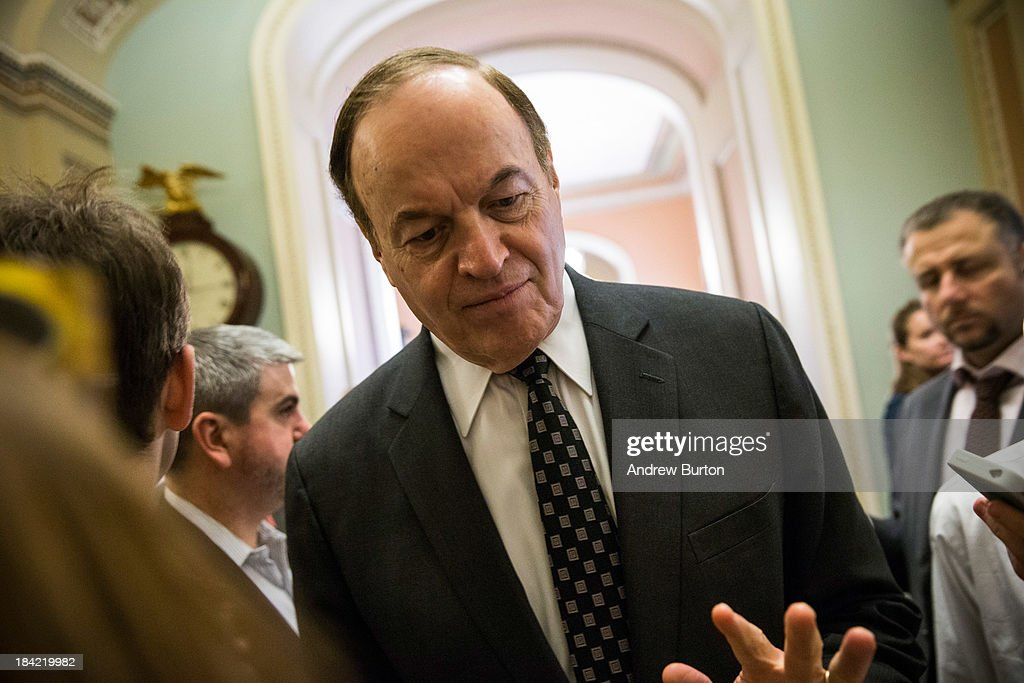Sen. Richard Shelby (R-AL) speaks to reporters before going into the Senate Chamber to vote, on October 12, 2013 in Washington, DC. The shut down is currently in it's 12th day.