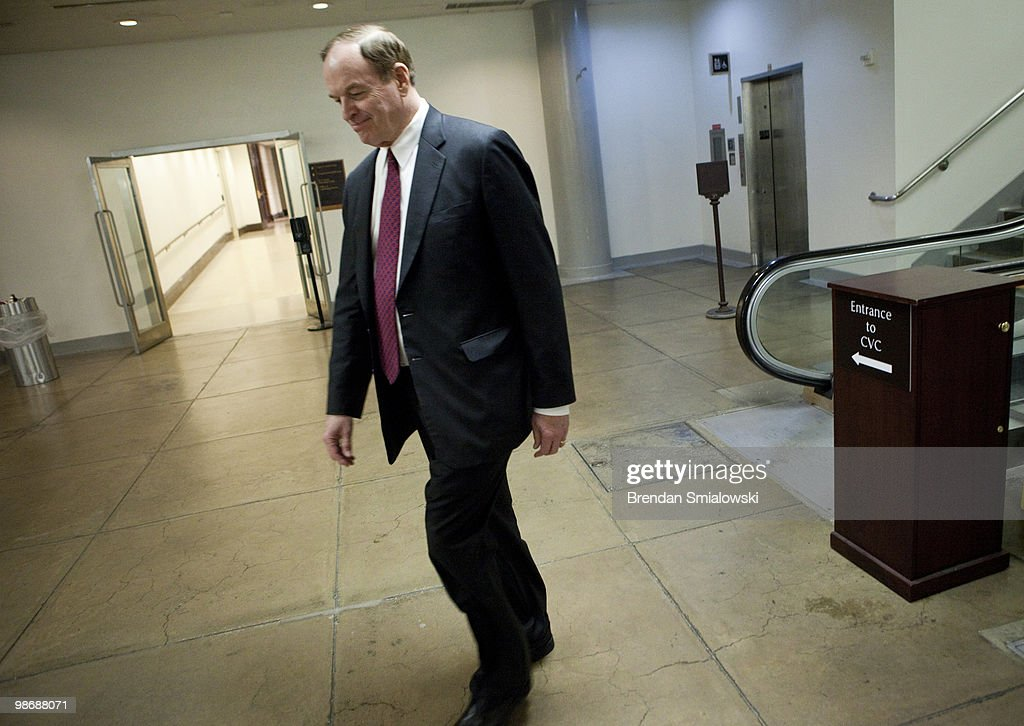 U.S. Sen. <a gi-track='captionPersonalityLinkClicked' href=/galleries/search?phrase=Richard+Shelby&family=editorial&specificpeople=529578 ng-click='$event.stopPropagation()'>Richard Shelby</a> (R-AL) walks on Capitol Hill after a vote April 26, 2010 in Washington, DC. Senate Democrats failed in an effort to bring legislation to tighten regulation of the financial system to the floor for debate in a 57-41 vote this evening, unable to muster the 60 votes needed to overcome the threat of a Republican fillibuster.