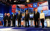 US Sen Rick Santorum US Rep Ron Paul former CEO of Godfather's Pizza Herman Cain former Massachusetts Gov Mitt Romney Texas Gov Rick Perry Former...