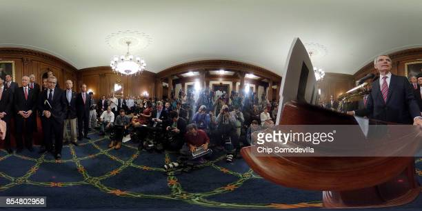 Sen Rob Portman addresses a news conference with Speaker of the House Paul Ryan and fellow Republicans to unveil their tax reform plan during a news...