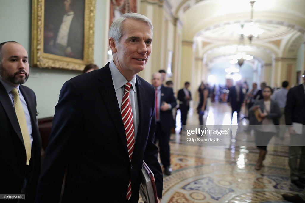 Sen. <a gi-track='captionPersonalityLinkClicked' href=/galleries/search?phrase=Rob+Portman&family=editorial&specificpeople=226973 ng-click='$event.stopPropagation()'>Rob Portman</a> (R-OH) leaves the weekly Senate Republican policy luncheon in the U.S. Capitol May 17, 2016 in Washington, DC. Despite having an $11 million war chest, Portman is facing a tough re-election campaign against former Ohio Gov. Ted Strickland.