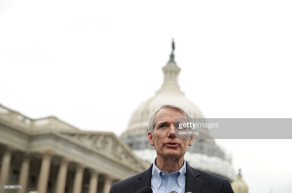U.S. Sen. <a gi-track='captionPersonalityLinkClicked' href=/galleries/search?phrase=Rob+Portman&family=editorial&specificpeople=226973 ng-click='$event.stopPropagation()'>Rob Portman</a> (R-OH) speaks during a news conference on opioid epidemic May 19, 2016 on Capitol Hill in Washington, DC. Legislators held a news conference to discuss their support for the Comprehensive Addiction and Recovery Act (CARA).