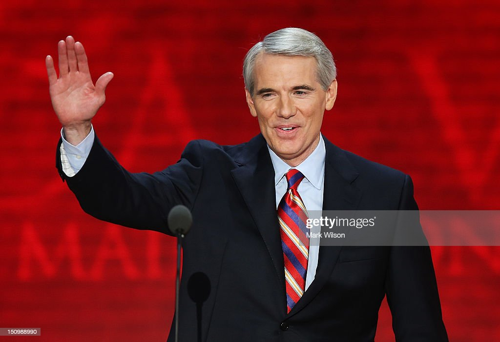 U.S. Sen. <a gi-track='captionPersonalityLinkClicked' href=/galleries/search?phrase=Rob+Portman&family=editorial&specificpeople=226973 ng-click='$event.stopPropagation()'>Rob Portman</a> (R-OH) waves during the third day of the Republican National Convention at the Tampa Bay Times Forum on August 29, 2012 in Tampa, Florida. Former Massachusetts Gov. Former Massachusetts Gov. Mitt Romney was nominated as the Republican presidential candidate during the RNC, which is scheduled to conclude August 30.