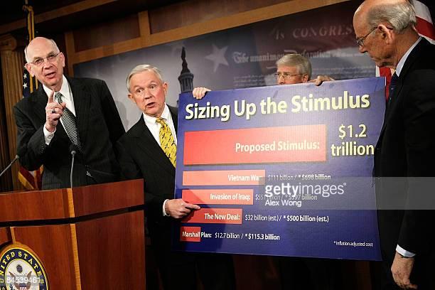 US Sen Robert Bennett and Sen Jeff Sessions speak as Sen Roger Wicker and Sen Pat Roberts listen during a news conference on the economic stimulus...
