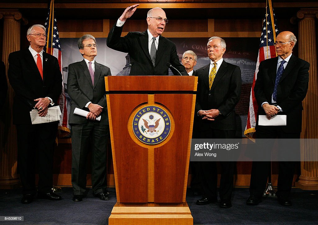 U.S. Sen. Robert Bennett (R-UT) (C) speaks as (L-R) Sen. Jim Bunning (R-KY), Sen. Tom Coburn (R-OK), Sen. Roger Wicker (R-MS), Sen. Jeff Sessions (R-AL) and Sen. <a gi-track='captionPersonalityLinkClicked' href=/galleries/search?phrase=Pat+Roberts&family=editorial&specificpeople=213805 ng-click='$event.stopPropagation()'>Pat Roberts</a> (R-KS) look on during a news conference on the economic stimulus package on Capitol Hill January 29, 2009 in Washington, DC. Senate Republicans held a news conference to voice their opposition to the package.