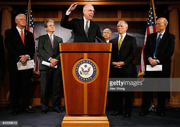 S Sen Robert Bennett speaks as Sen Jim Bunning Sen Tom Coburn Sen Roger Wicker Sen Jeff Sessions and Sen Pat Roberts look on during a news conference...