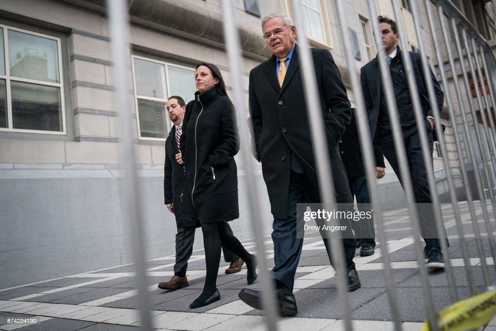 Sen. Robert 'Bob' Menendez (D-NJ) departs federal court, November 14, 2017 in Newark, New Jersey. The jury continues to deliberate in his corruption trial.